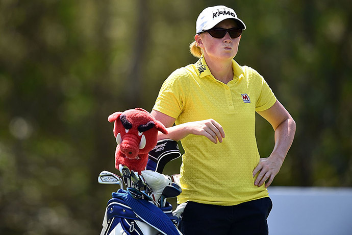 Stacy Lewis of the United States poses with the golf bag during day one of the 2016 Honda LPGA Thailand at Siam Country Club on February 25, 2016