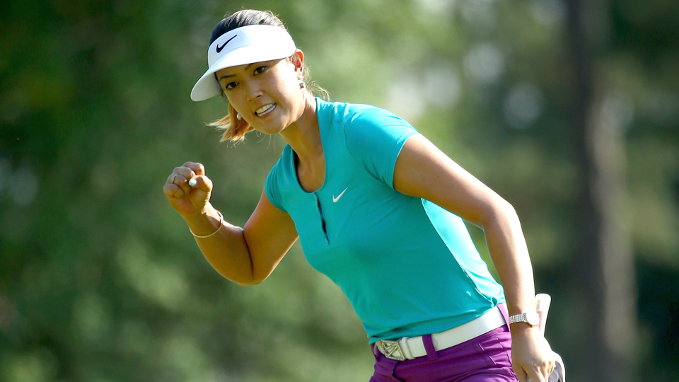 Michelle Wie celebrates a birdie putt on the 17th hole during the final round of the 69th U.S. Women's Open at Pinehurst Resort & Country Club on June 22, 2014, in Pinehurst, N.C., which was Wie's biggest win of her career.