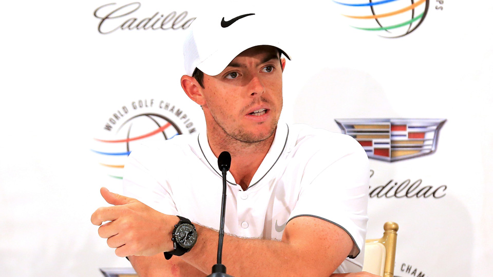 Rory McIlroy speaks to the media during the final day of practice on the Blue Monster at the Trump National Resort on March 2, 2016, in Doral, Florida.
