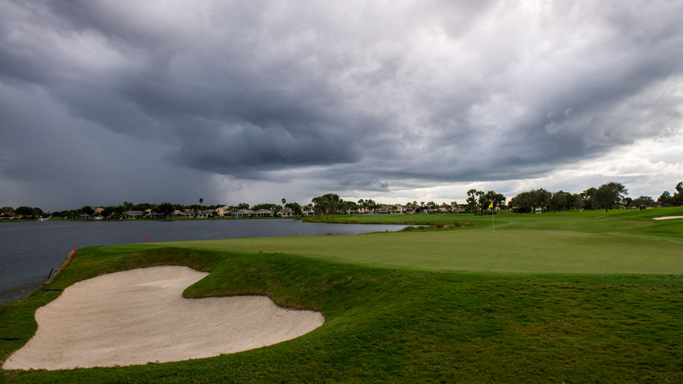 The 18th hole at PGA National's Champion course.