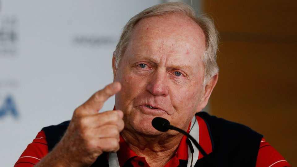 Jack Nicklaus speaks to the media prior to the start of the 115th U.S. Open Championship at Chambers Bay.
