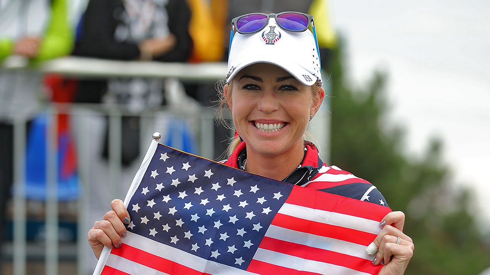 Paula Creamer celebrates after scoring the match winning point with her 4&3 win over Sandra Gal during the Sundays single matches in the 2015 Solheim Cup.