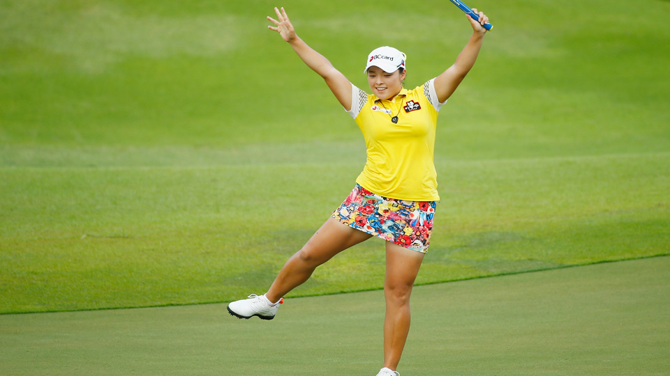 Ha Na Jang celebrates an eagle on the 18th hole on her way to winning the HSBC Women's Champions at Sentosa Golf Club on March 6, 2016, in Singapore.
