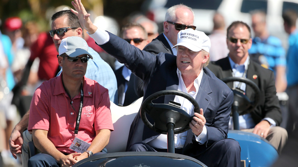 Republican presidential candidate Donald Trump makes an appearance during the final round of the World Golf Championships-Cadillac Championship at Trump National Doral on March 6, 2016, in Doral, Florida.