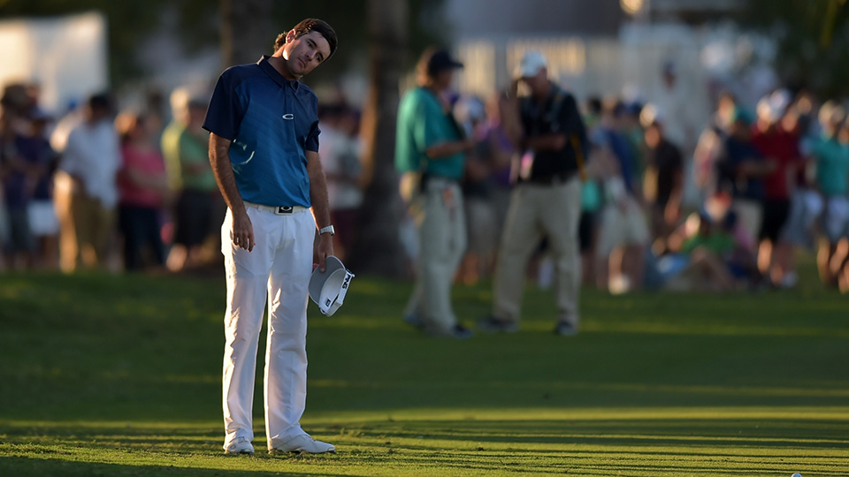 Bubba Watson waits to take his shot on the 18th hole during the final round of the 2016 World Golf Championships-Cadillac Championship at Trump National Doral Blue Monster.