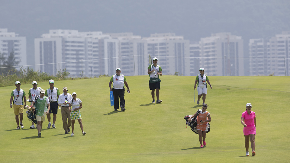 Brazil's Luciane Lee, right, takes part in the 2016 Aquece Rio Golf Challenge at the Olympic Golf Course in Rio de Janeiro, Brazil, Tuesday, March 8, 2016. The Olympic golf course hosts its first test event ahead of the August games.