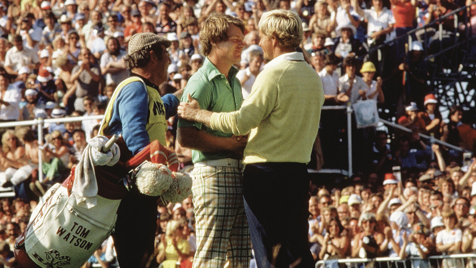 Tom Watson and Jack Nicklaus embrace after the 1977 British Open at Ailsa Course of Turnberry GC.