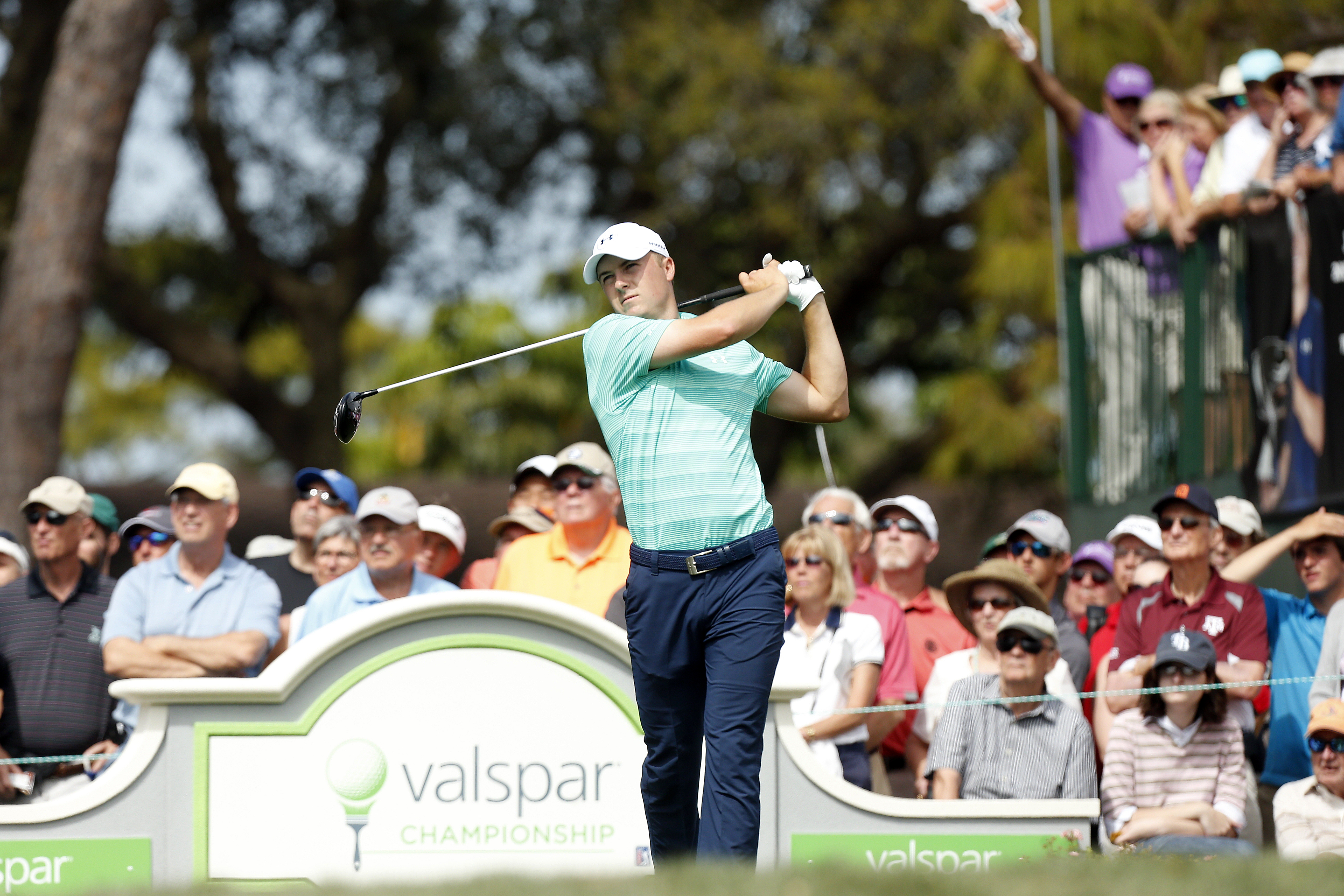 Jordan Spieth hits his tee shot in the 10th hole during the third round of the Valspar Championship golf tournament Saturday, March 12, 2016, in Palm Harbor, Fla. (AP Photo/Brian