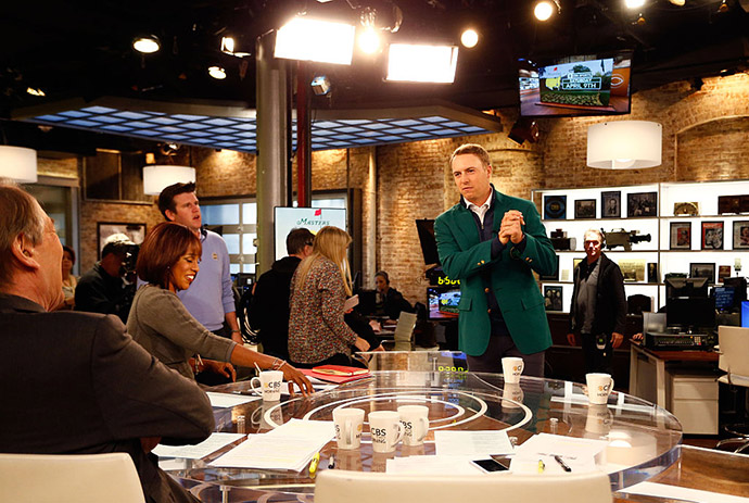 2015 Masters Champion and world number one Jordan Spieth prepares for an appearance on CBS This Morning at the CBS Broadcast Center on March 14, 2016 in New York City.