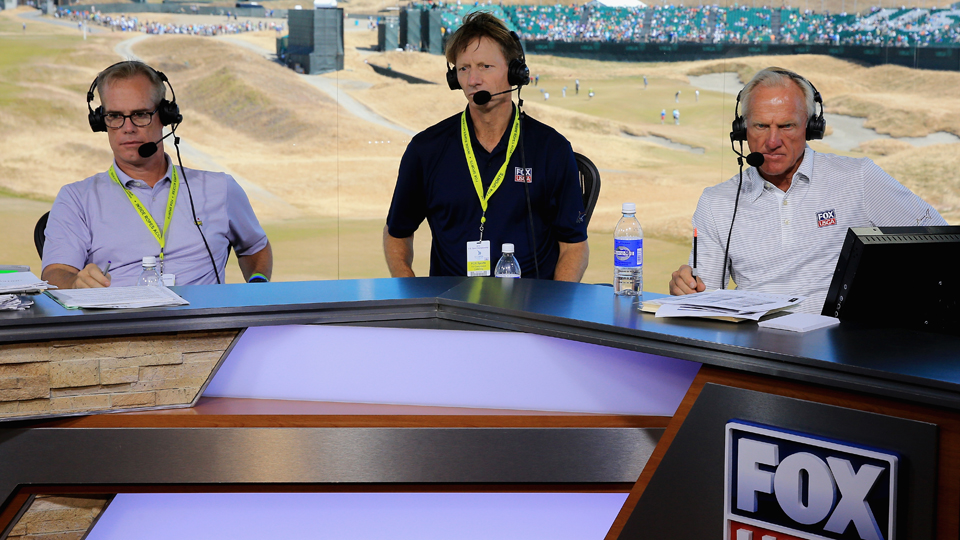 Joe Buck, Brad Faxon and Greg Norman sit on set during rehearsal prior to the start of the 115th U.S. Open Championship at Chambers Bay on June 17, 2015, in University Place, Washington.