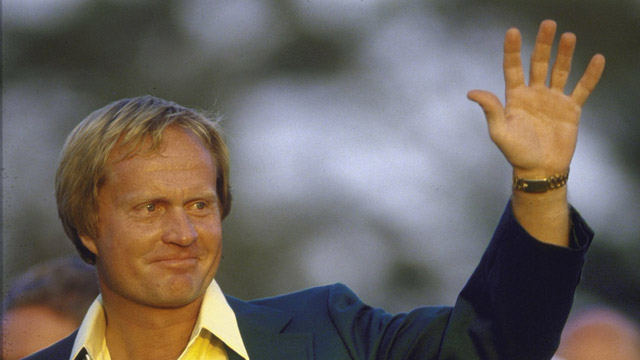 Closeup of Jack Nicklaus victorious with green blazer during awards ceremony after winning tournament on Sunday at Augusta National.