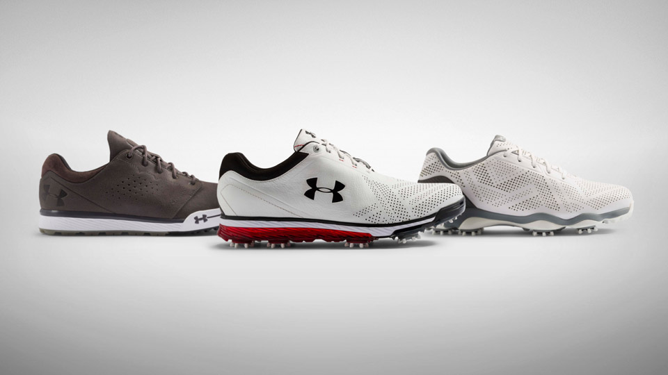 From left: Under Armour Tempo Hybrid, Under Armour Tempo Tour, Under Armour Drive One golf shoes.