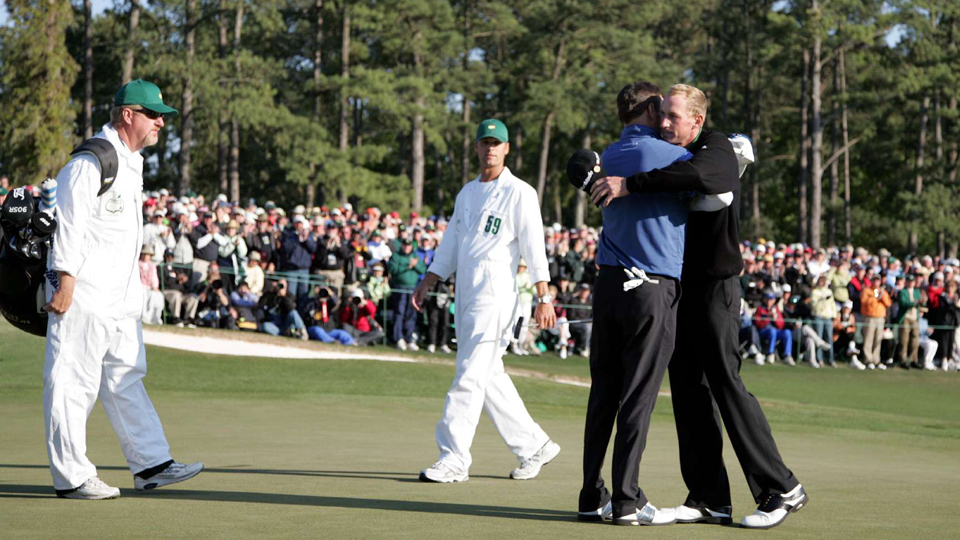 Vaughn Taylor hugs Zach Johnson during the 2007 Masters.