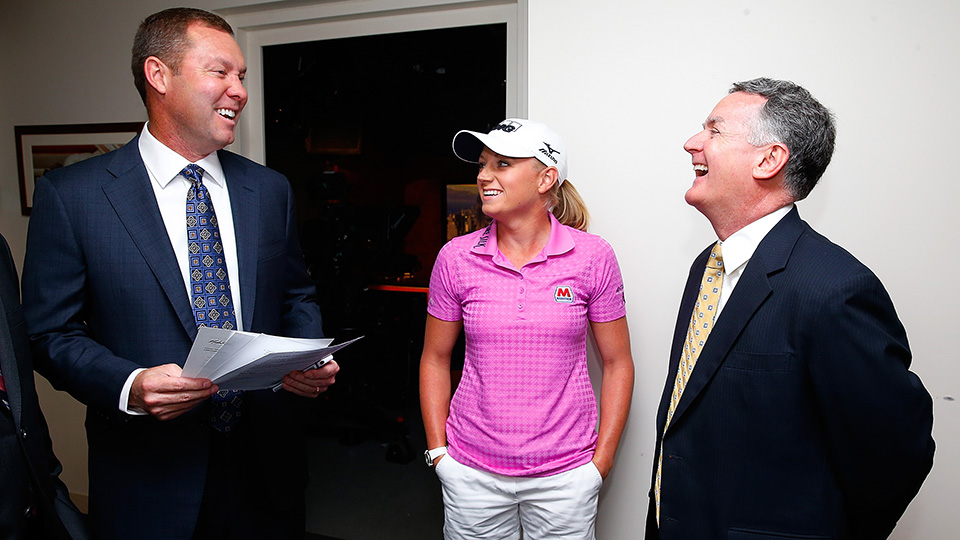 Mike Whan, KPMG Chairman John Veihmeyer, and Stacy Lewis wait in the green room prior to announcement of KPMG Women's PGA Championship on May 29, 2014.