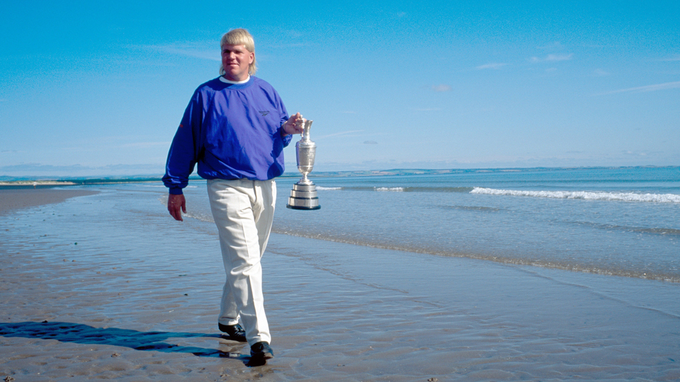 John Daly takes a walk after winning the 1995 British Open.