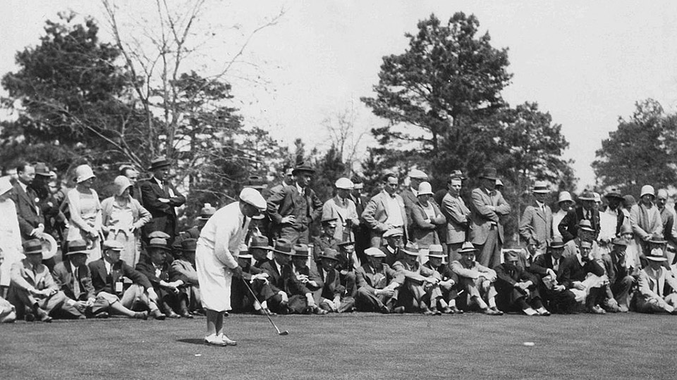 Bobby Jones putts on the 9th hole during a 1930s tournament at Forest Hills Golf Club in Augusta, Georgia.