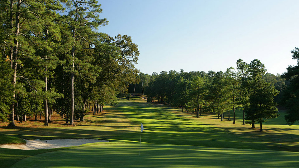 A view from behind the green on the 440 yard par 4, 5th hole on the Palmetto Golf Club, on October 18, 2005 in Aiken, GA.