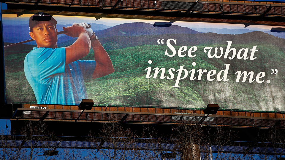 An outdoor billboard featuring an ad for the Cliffs High Carolina community as seen in 2009 in Asheville, North Carolina.