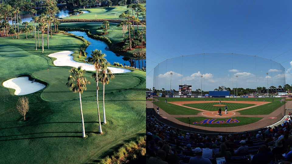Left: PGA National's Champion course. Right: Tradition Field in Port St. Lucie, Spring Training home of the New York Mets.