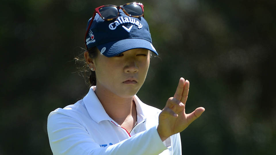 Lydia Ko lines up her putt on the 1st hole during Round 3 of the KIA Classic at the Park Hyatt Aviara Resort on March 26, 2016, in Carlsbad, California.
