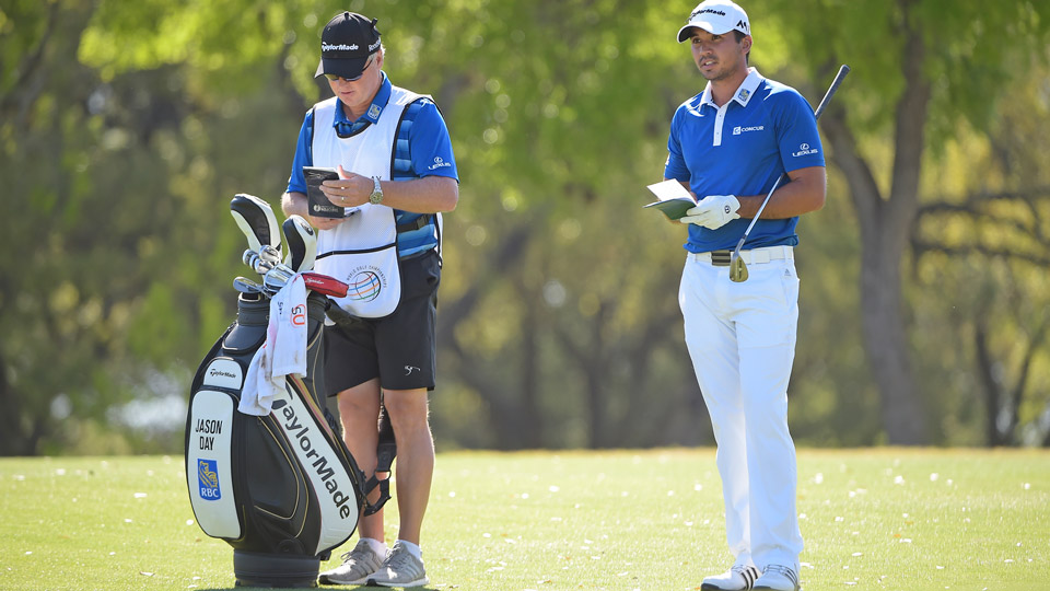 Jason Day with his TaylorMade golf clubs on Sunday at the 2016 WGC-Dell Match Play.