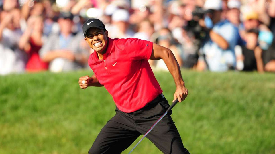 Tiger Woods reacts after making a birdie putt on the 18th hole of the 2008 U.S. Open.