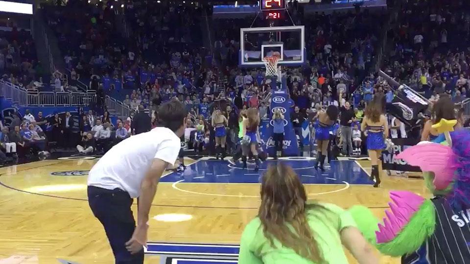 Bubba Watson from halfcourt at a NBA game.
