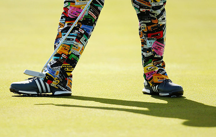 John Daly putts on the second hole during the first round of the Puerto Rico Open at Coco Beach on March 24, 2016 in Rio Grande, Puerto Rico.
