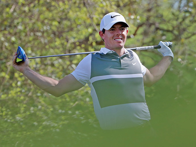 Rory McIlroy of Northern Ireland reacts to a poor tee shot on the 12th hole during round one of the World Golf Championships-Dell Match Play at Austin Country Club on March 23, 2016 in Austin, Texas.