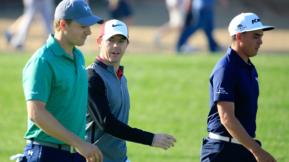 Jordan Spieth (from left), Rory McIlroy and Rickie Fowler are all after a green jacket.