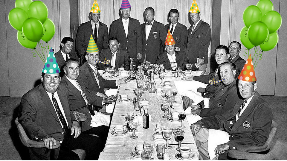 Sam Snead, Doug Ford, Byron Nelson, Jimmy Demaret, Bobby Jones, Jack Burke, Jr., Craig Wood, Ben Hogan, Horton Smith, Herman Keiser and Henry Picard attend the Champions Dinner.