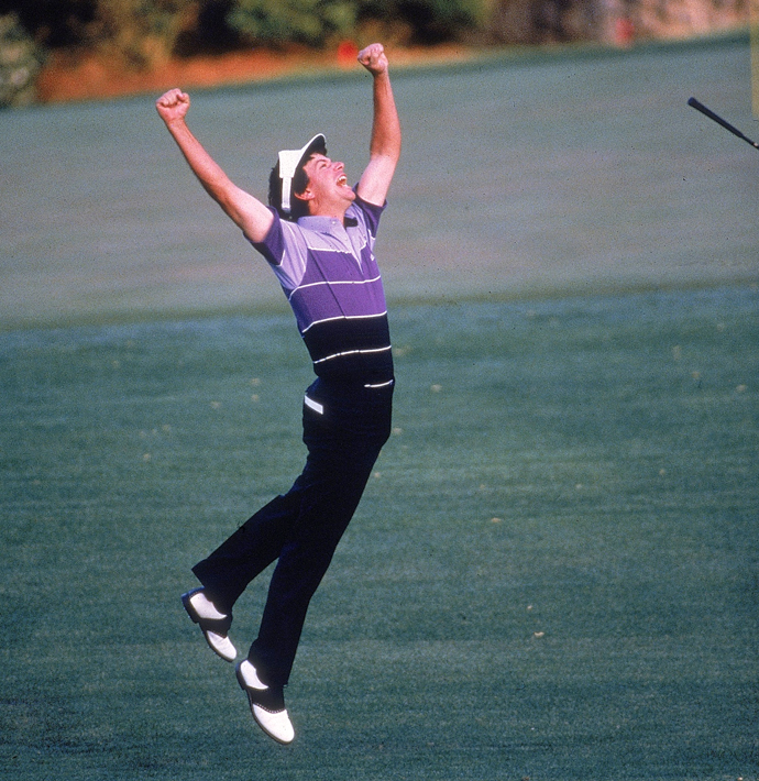 Larry Mize celebrates after chipping in for birdie on No. 11 during a playoff vs. Greg Norman at the 1987 Masters.