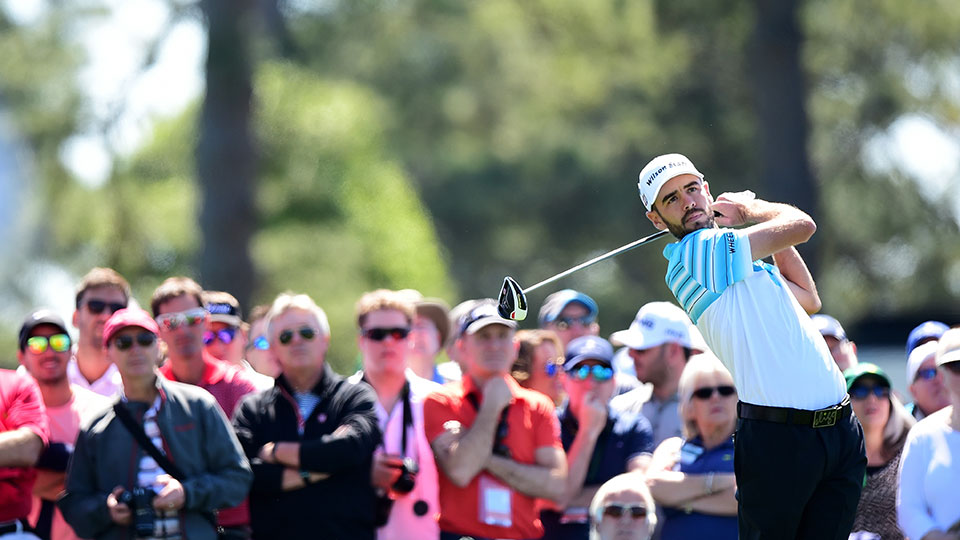 roy Merritt of the United States plays his shot from the first tee during a practice round prior to the start of the 2016 Masters Tournament at Augusta National Golf Club on April 5, 2016