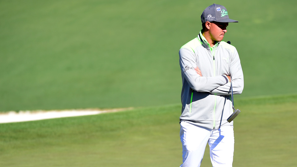 Rickie Fowler stumbled to a first-round 80 at the 2016 Masters at Augusta National Golf Club.