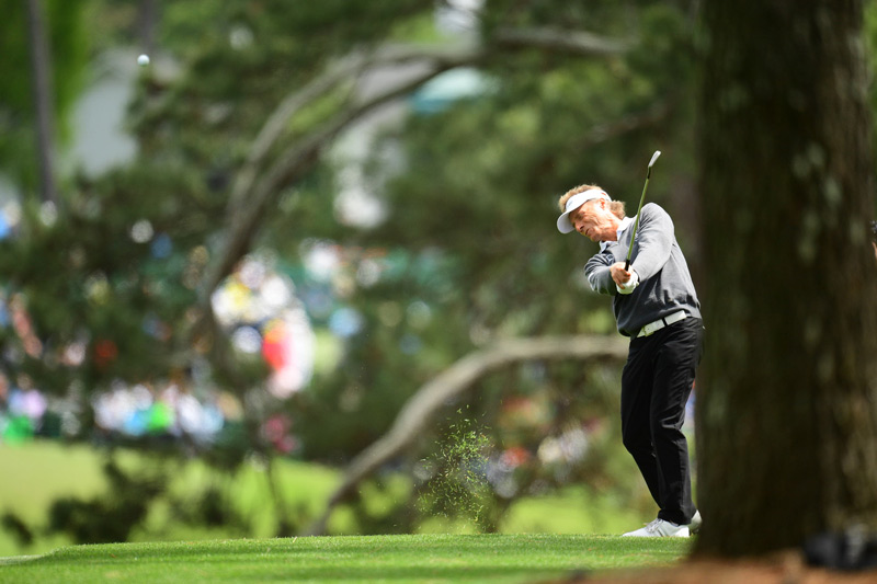 58-year-old Bernhard Langer plays a shot during the final round.