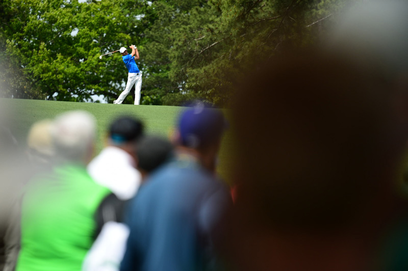 Spieth watches a shot during the final round at Augusta National.