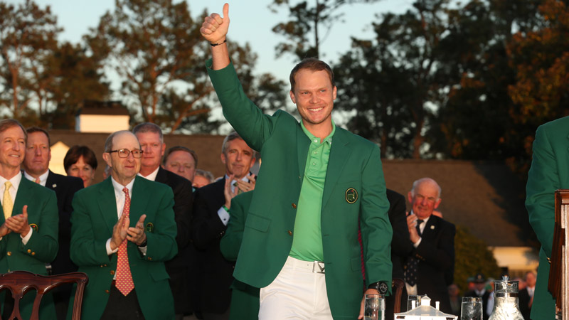 Danny Willett celebrates his 2016 Masters victory.