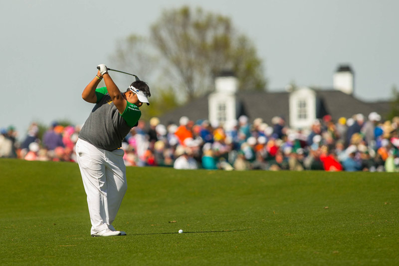 Kiradech Aphibarnrat hits his second shot from the fairway at the 18th hole during the final round.