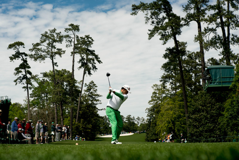 Anirban Lahiri hits his tee shot at the 18th hole during the final round.