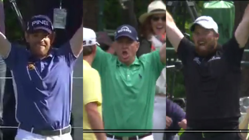 Louis Oosthuizen, Davis Love II, and Shane Lowry celebrate their Masters aces.