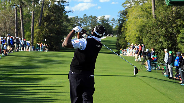Vijay Singh tees off on the 18th hole at Augusta National during the 2016 Masters.