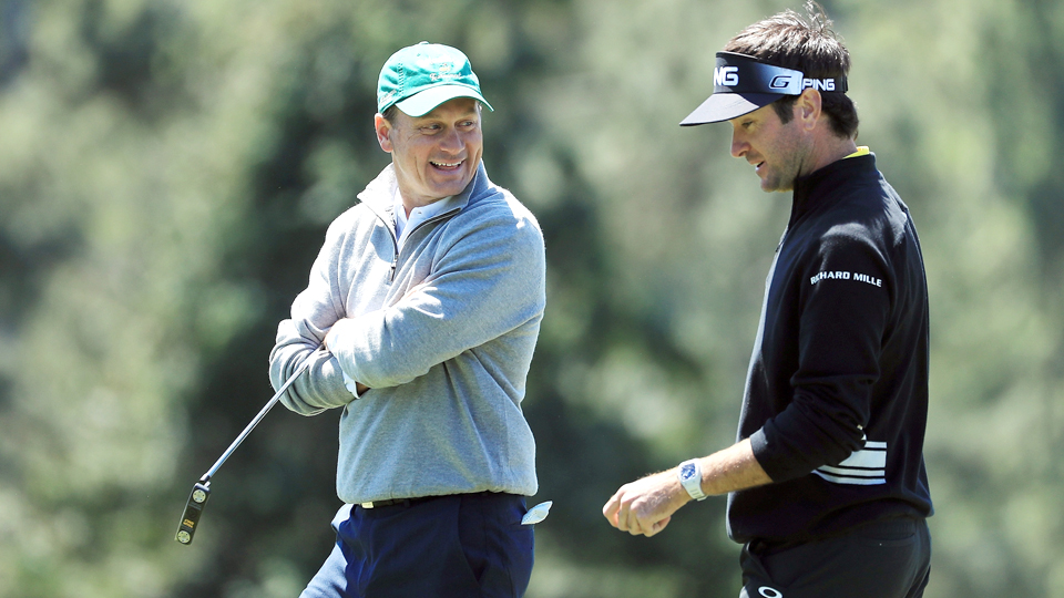Bubba Watson (right) played with marker Jeff Knox on Saturday morning.