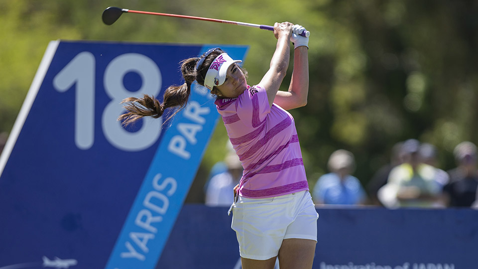 Gerina Piller tees off from the 18th hole during the 2016 ANA Inspiration at Mission Hills Country Club.