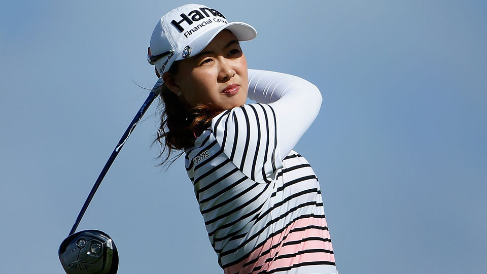 Minjee Lee tees off on the 13th hole during the opening round of the LPGA Lotte Championship.