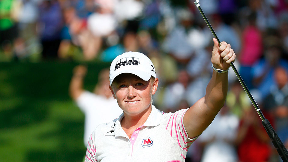 Stacy Lewis reacts after making a birdie on the 18th hole during the final round of the 2014 Walmart NW Arkansas Championship.