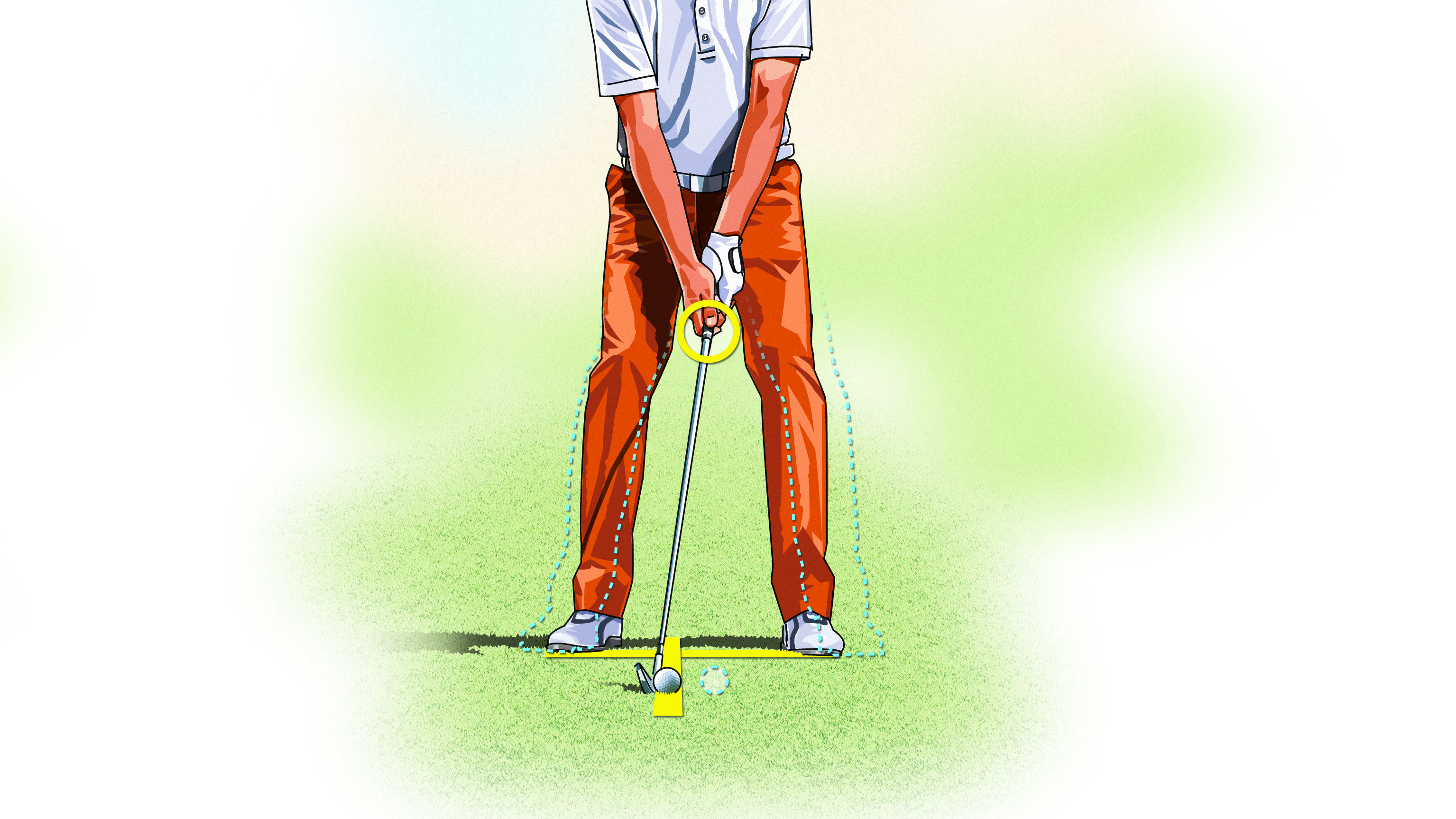 If your irons have deserted you, opt for a knockdown shot. Narrow your stance, choke down on the club, and play the ball back in your stance.