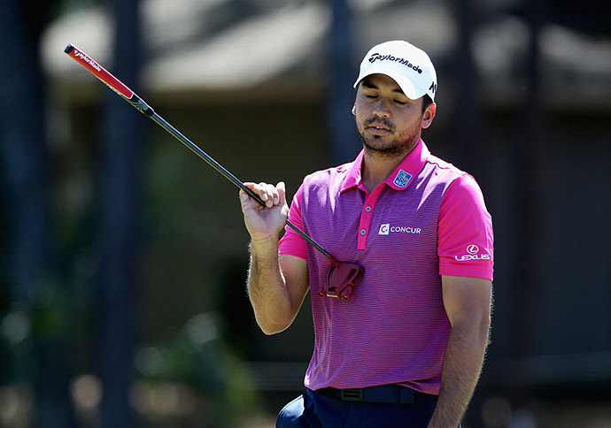 Jason Day reacts to a putt on the sixth hole during the final round of the 2016 RBC Heritage at Harbour Town Golf Links.