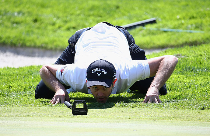 Stuart Manley of Wales lines up a putt on the 9th green during day one of the Open de Espana at Real Club Valderrama.