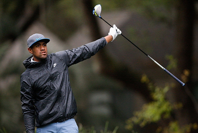 Tony Finau reacts after a shot on the second hole during the second round of the 2016 RBC Heritage at Harbour Town Golf Links.