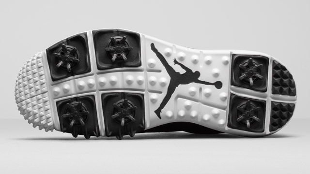 The sole of the new Jordan golf shoes.